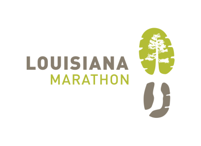 The Louisiana Marathon Logo features the image of a running shoe tread outlining the image of a tree.