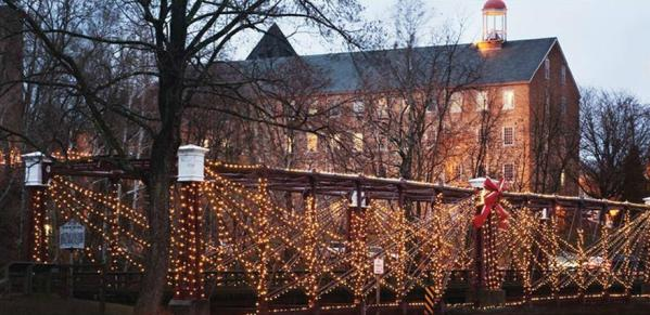 Historic Savage Mill Bollman Bridge lit up for the holidays