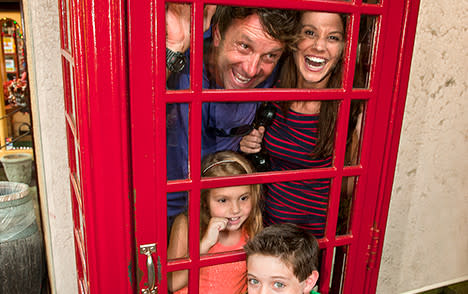 Family in Phone booth