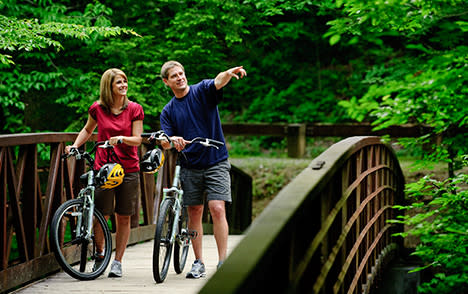 Couple Bicycling on Bridge Small