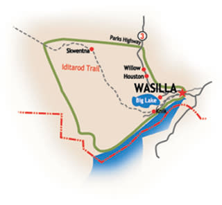 Wasilla, Big Lake and Houston Map