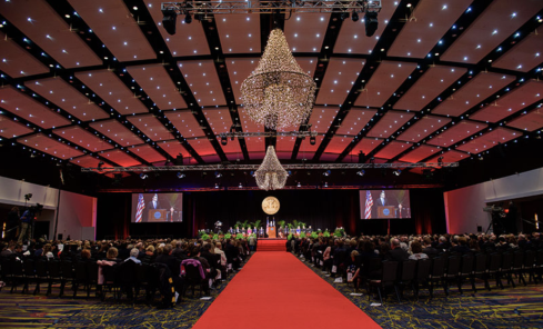 Red carpet event in a ballroom at the Iowa Events Center