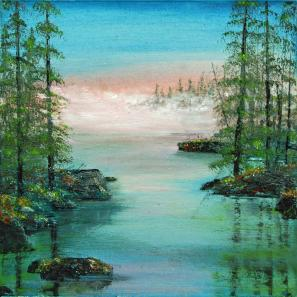 """""""Vanishing Mists"""" acrylic and oil on canvas by Linda Sonnenberg-Jackson."""