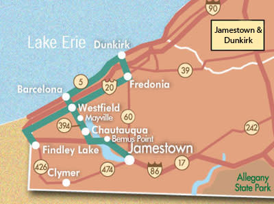 New York Scenic Vistas | New York Sightseeing and Outdoors Dunkirk New York Map on