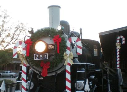 Wilmington Railroad Museum train decorated for holidays