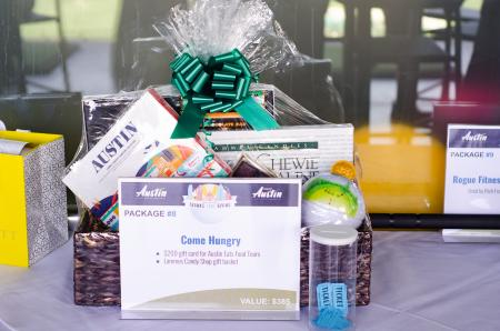 raffle prizes at Thanks FORE Giving Topgolf Tournament hosted by the Visit Austin Foundation