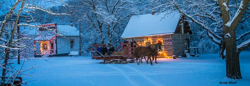 A horse drawn sleigh ride through the Homsteaders Village at the Manitoba Agricultural Museum