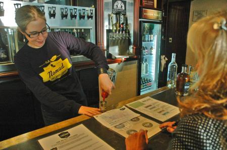 Trying the Sakura vodka at the Jolly Pumpkin tasting room in Bowers Harbor