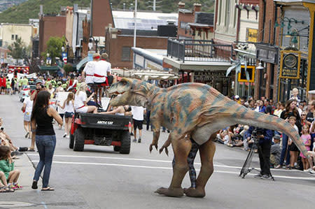 T-Rex in Labor Day parade in Park City, Utah