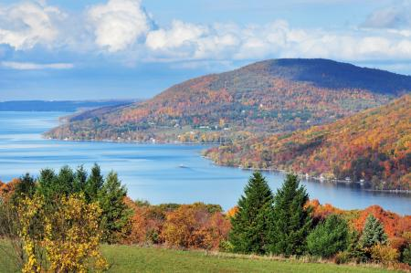 A view down Canandaigua Lake from the 12 Scenic Overlook during the Fall Time