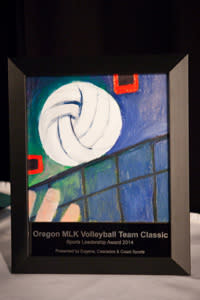 This year's Sports Leadership Award was hand-painted specifically for the Oregon MLK Classic