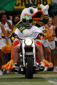 You know this guy is ready for the football season to start! (photo by John Giustina, courtesy of UO)