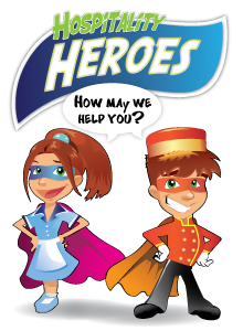 Hospitality Heroes program logo with a maid and bellhop wearing superhero capes.