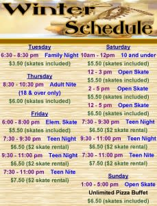 Roller Dome North Winter Schedule
