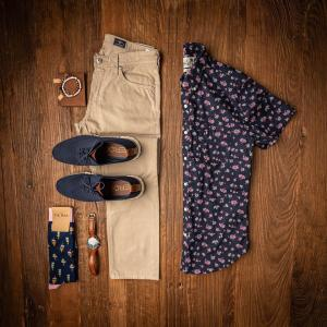 Loafers, dress pants, watch, dress socks, wallet and a button down shirt from Him