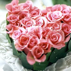 Two dozen pink roses in the shape of a heart
