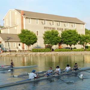 rowing down the Erie Canal in Pittsford, NY