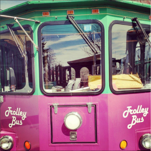 Front of the trolley bus for finger lakes winery tours