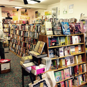 Books and trinkets line the shelves at Whistlestop Bookshop in downtown Carlisle.