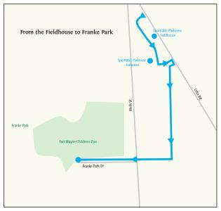 Fieldhouse to Franke Park Trail Ride Itinerary