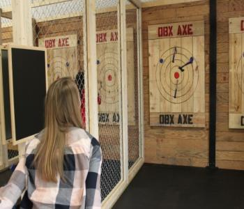 Customers at OBX Axe Throwing