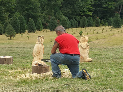 Watch a chainsaw carver at work.