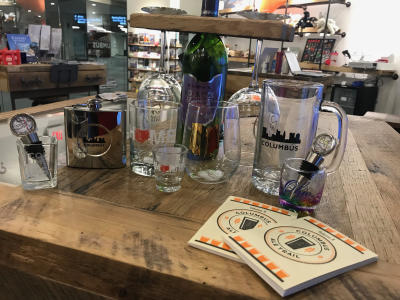 drinks merchandise at experience columbus visitor centers