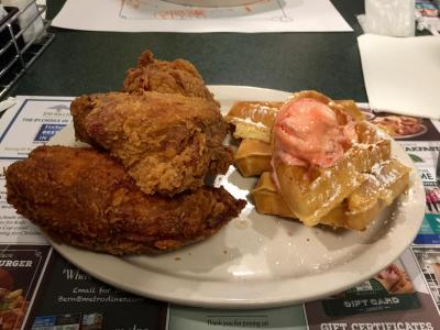Fan favorite the Chicken and waffles at Metro Diner!