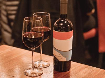 Del Friscos Malbec Wine and Glasses