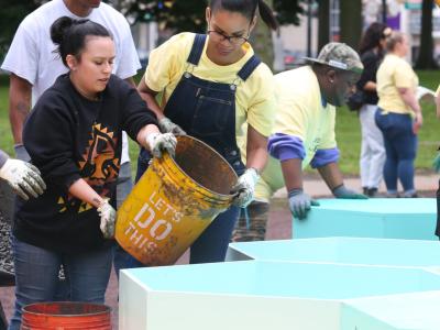 Volunteers working at Washington Park in Newark, NJ