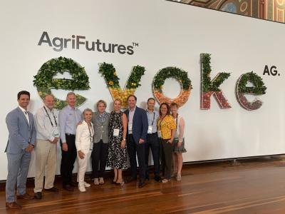 Business Events Perth Chief Executive Officer Gareth Martin celebrates winning the evokeAG argri-tech conference to come to Perth in 2021 with the Western Australian State Government representatives including Western Australia's Agriculture and Food Minister Alannah MacTiernan.