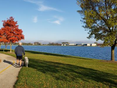 Fall-Man walking dog-family walking baby at Lake Andrea