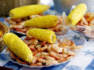 Corn on the Cob and Fresh Shrimp