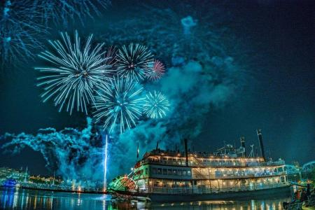 Blue fireworks at WEBN riverfest going off over BB Riverboat