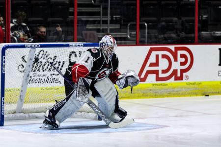 photo of cincinnati cyclones hockey goalie at heritage bank arena