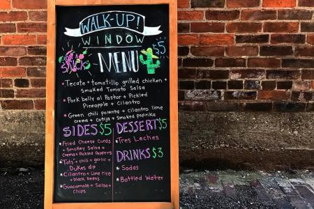 walkup window menu board at coppins at hotel covington ky