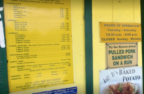 Broussards menu