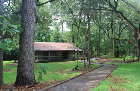 Staley Cabin at the trail-head for Kirby Nature Trail