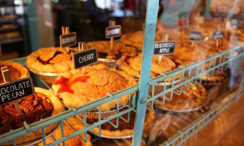 Upper Crust Bakery pies on display