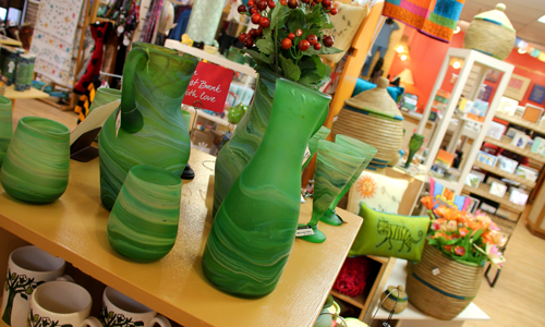 Ten Thousand Villages green glassware