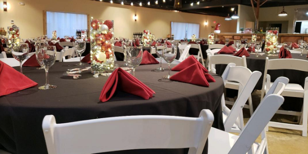 Conference room in Wichita setup for a meeting or holiday party