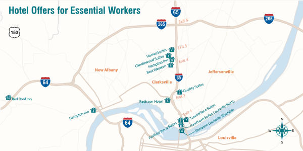Map of 12 Hotels Listed Below with Offers for Essential Workers