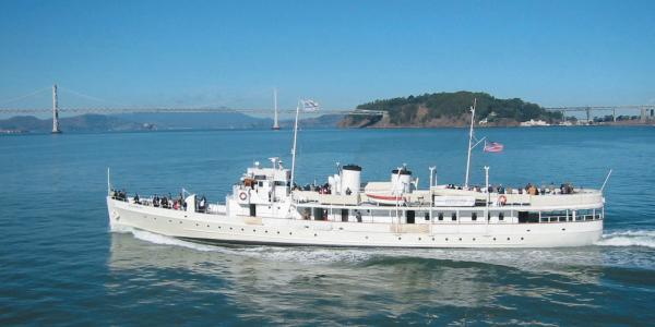 USS Potomac cruising in the bay