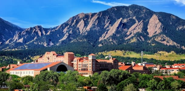 City and Mountain ridgeline of Boulder and CU in Summer