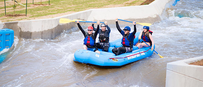 Group rafting down the Oklahoma River