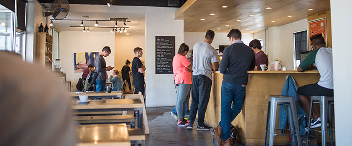 Customers ordering coffee at Elemental Coffee