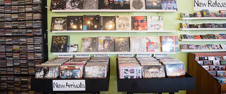 Record shelves at Guestroom Records