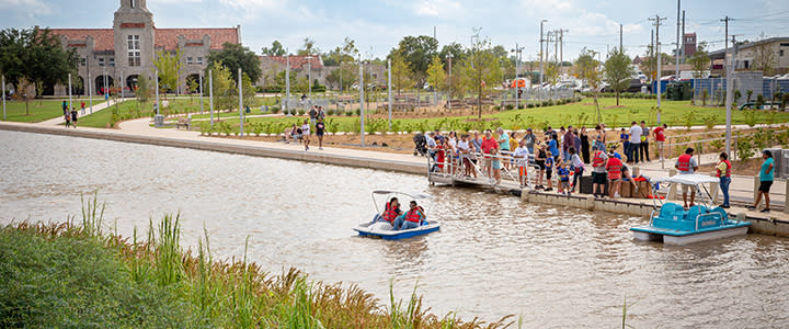 Pedal boats at Scissortail Park in Oklahoma City