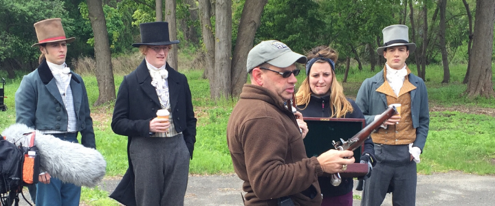 """Hamilton: Building America"" filming at the Jay Heritage Center in Rye, NY"