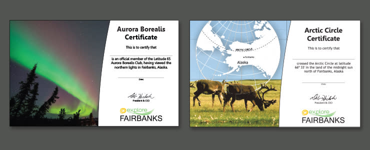 Aurora and Arctic Circle Certificates - Fairbanks, Alaska